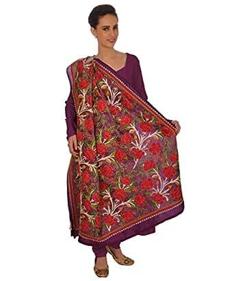 Talking Threads Women's Silk Dupatta (TT-10253DUKAEDC_Purple_Free Size)