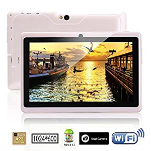 iRulu 7 inch Android Tablet PC, 1024*600 HD Screen with 5 Point Capactive Touch, 4.2 Jelly Bean OS, Dual Core, Allwinner A23 CPU, Dual Cameras(0.3/2MP), 8GB Storage (White)