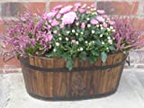 Oval Wooden Planter with Metal Handles