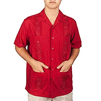 Embroidered cotton blend guayabera color burgundy.