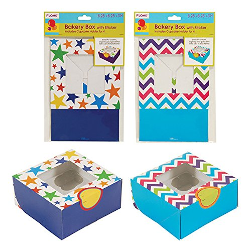 "1 Bakery Box With Sticker And Cupcake Holder, 6.25""X6.25""X3""H 2 Styles (12/36)"