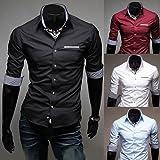 【BEST FASHION STYLE】 メンズ シャツ 七分袖 タイト チェック使い きれいめ カジュアル コーディネート シャツ