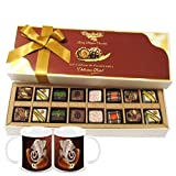 Chocholik Belgium Chocolates - 16pc Magical Treat Of Pralines Chocolate Box With Diwali Special Coffee Mugs -...