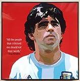 ディエゴ・マラドーナ アルゼンチン代表 海外製 サッカーグラフィックアート 木製ポスター インテリア