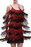 Vikoros (ヴィコロス) レディース用 1920年代風 フラッパー ガール フリンジ タッセル チャールストン パーティー カクテル ドレス