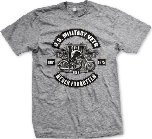 U.S. Military Vets POW MIA Mens T-shirt, 1961-1975 Never Forgotten Motorcycle Design Shirt, XX-Large, Lt-Gray