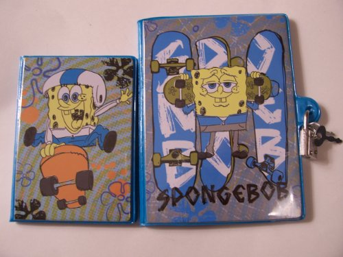 Spongebob Squarepants 2 Piece Matching PVC Diary with Lock & Address Book Set ~ Skateboarding Spongebob - 1