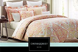 Cynthia Rowley King or Queen Duvet Cover Set Paisley Large Moroccan Medallion Orange Yellow Red Beige Gray (Full/Queen)