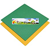 Lego-Compatible Brick Building Base 10 X 10 Green & Orange 2 Baseplates In A Set By Brand FUN FOR LIFE