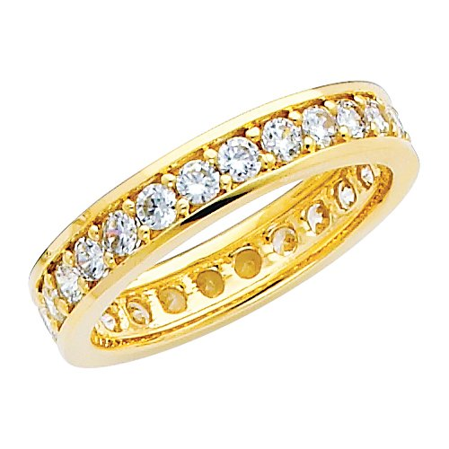 14K Yellow Gold Round-shape CZ Cubic Zirconia Eternity Ring Band - size 5