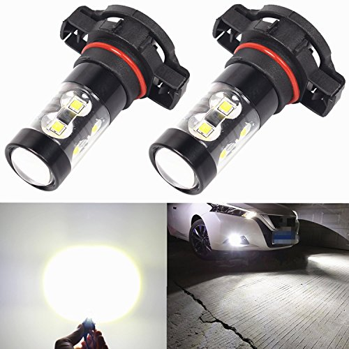 Alla Lighting 2504 PSX24W 50W High Power Xtremely Super Bright White LED Lights Bulbs for Fog Light Lamp Replacement (Fog Light Bulbs Dodge Charger compare prices)
