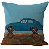 ChezMax Chair Seat Back Office Cushion Cover Linen Cotton Throw Pillow Case Decorative Pillowcase Square Pillowslip For Deck Blue Car and Cat 18 X 18