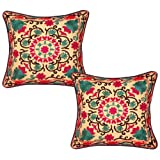 Home Decor Handmade Embroidery Cotton Pillow Cushion Cover 17 Inches 2 Pcs