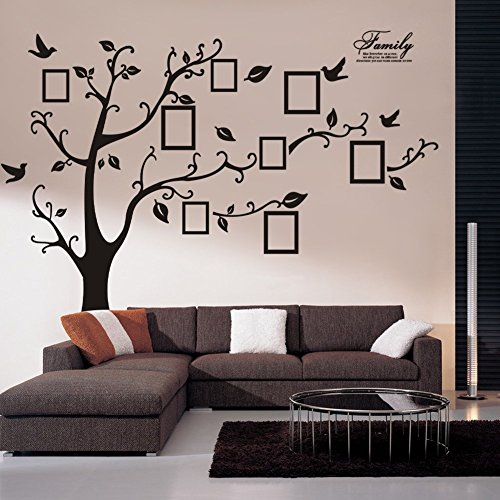 BestGrew® Huge 8' (ft) wide x 6' (ft) Picture Frame Tree Wall Decal Quality Sticker-XXL Nice family phrase decal family wall quote removable wall stickers home decal art mural