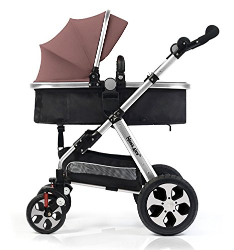 HansAlice-Baby-Standard-Stroller-Free-Replaceable-Canopy-Easy-Folding-Travel-System-Silver-Frame-With-Various-Color-Canopy-available