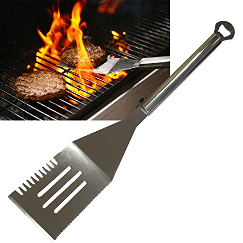 "Find Cheap Barbeque Grilling Spatula 19"" Slotted Turner Stainless Steel with Bottle Opener and ..."
