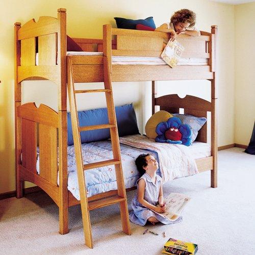 Kid's Oak Bunk Beds: Downloadable Woodworking Plan