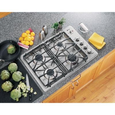 GE Profile : JGP945SEKSS 30 Gas Cooktop with 4 Sealed Burners - Stainless Steel