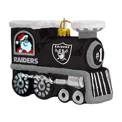 NFL Oakland Raiders Blown Glass Train Ornament