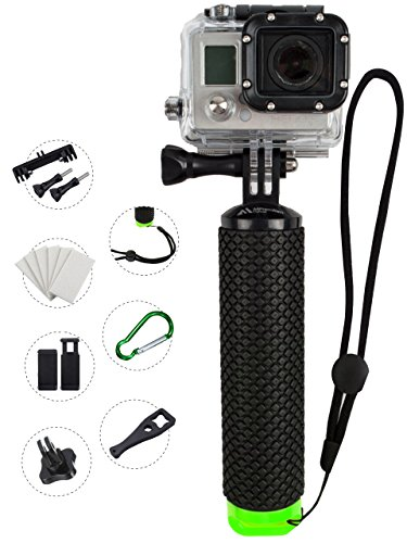 ProFloat Waterproof Floating Hand Grip compatible with all GoPro Cameras Hero 4 Session Black Silver Hero 2 3 3+ 4. Handler & Handle Mount Accessories Kit & Water Sport Pole for Action Camera (Green) (Shot Ski Bracket compare prices)