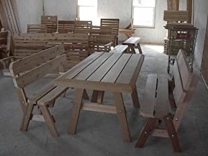 Pine Picnic Table with Backed Benches - 4 Foot