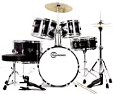 Complete 5-Piece Black Junior Drum Set with Cymbals Stands Sticks Hardware & Stool