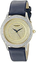 Akribos XXIV Women's AK896BU Round Silver Dial Three Hand Quartz  Strap Watch
