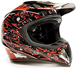 Adult Off Road Helmet DOT Dirt Bike Motocross ATV Motorcycle Offroad Black Red Splatter ( 2X XXL )