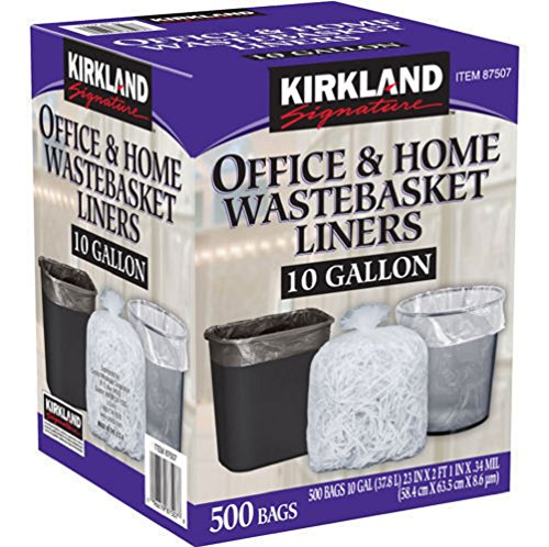 Kirkland Signature Made in USA 10 Gallon Clear Wastebasket Liner Bags for Trash Can 500 Count (13 Gallon Wastebasket Liners compare prices)