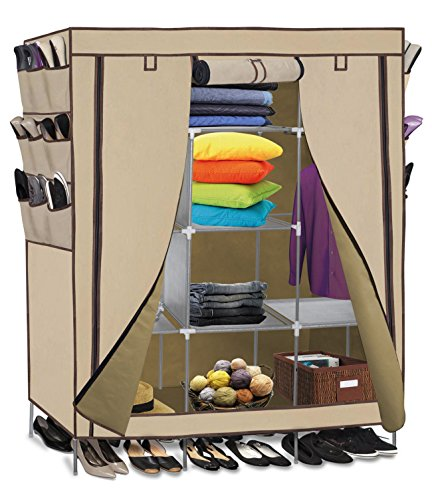 Portable Closet Storage Rack Organizer Wardrobe Clothes Shelves Shoe/ Beige Color (Closet Maid Small Modular Drawer compare prices)