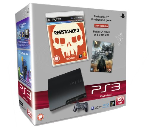 Sony PlayStation 3 Console (320GB Slim Model) with Resistance 3 and Battle: Los Angeles (Blu-ray Movie) Bundle