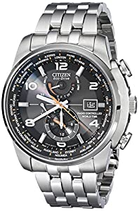 """Citizen Men's AT9010-52E """"World Time A-T"""" Stainless Steel Eco-Drive Watch"""