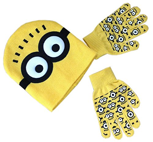 [Zando Kids Two Eyes Crochet Knitted Yellow Girl Boy Hat Gloves Set For Christmas] (Kids Natural Leopard Costumes)