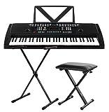 Funkey 61 Keyboard Schwarz inkl. höhenverstellbarem Ständer, Sitzbank und Keyboard Basics Lehrbuch (61 Tasten, 100 Klangfarben, 100 Rhythmen, 8 Demo Songs, Netzteil, Notenständer)