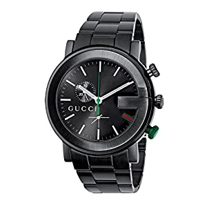 Gucci G-Chrono Collection Men's Quartz Watch with Black Dial Chronograph Display and Black Plated Stainless Steel Bracelet YA101331