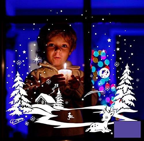 WTD film adhésif pour fenêtre motif chevreuil winterbild schneekristalle d'étoiles et de canard m1700 est la paire de patins à glace, lavande, XXL - 100cm breit x 73cm hoch