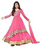 Clickedia Womens Net Embroidered Pink & Golden Semi Stitched Anarkali - Dress Material