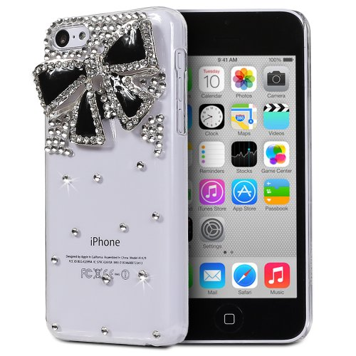 Fosmon GEM Series 3D Bling Design Case for Apple iPhone 5C (Clear Case / Black Bow) (5c Phone Case Gems compare prices)
