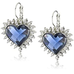 "Betsey Johnson ""Royal Engagement"" Blue Crystal Heart Drop Earring"
