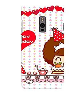 Printvisa Happy Birthday Kitty Girl Back Case Cover for One Plus Two::One Plus 2::One+2