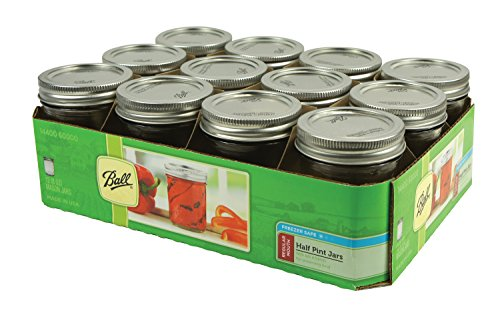 Ball Half Pint Regular Mouth Jars and Lids BPA Free, 8 oz, Set of 12 (Half Pint Wide Mouth Jars compare prices)