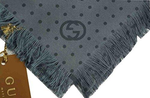 GUCCI tasca quadrato/Hanky Signature 100% seta, colore: grigio e Nero a pois