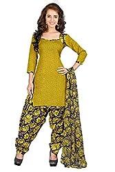 BanoRani Mehendi Green PolyCotton Printed UnStitched Dress Material