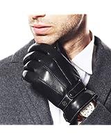 Warmen - Gants en Cuir d'Agneau Véritable pour Homme - Compatibles Ecrans Tactiles - Doublure Polaire