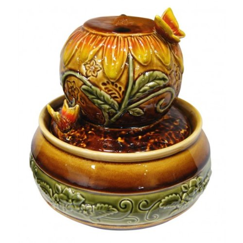 Ceramic Ball w Butterfly Tabletop Fountain