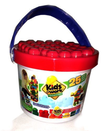 Kids@Work 25 Piece Plastic Bucket of Blocks (Bucket Colors May Vary)
