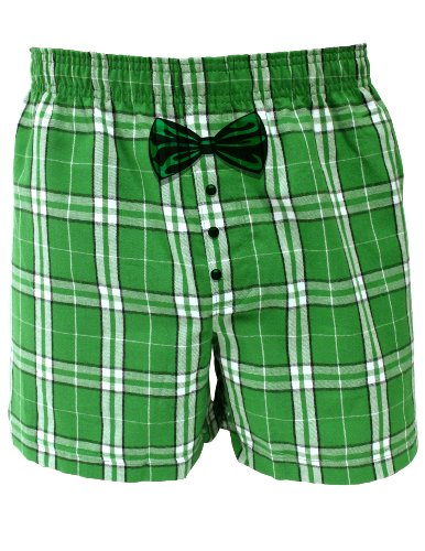 Leprechaun Tuxedo - St Patricks Day Green Tartan Plaid Boxers Shorts