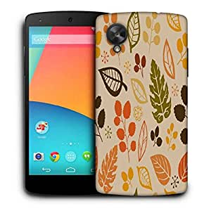 Snoogg Cream Pattern Leaves Printed Protective Phone Back Case Cover For LG Google Nexus 5