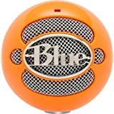 Micrófono Blue Snowball conexión USB, color naranja brillante.