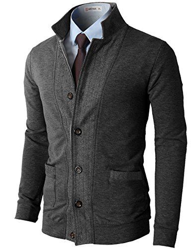 H2H Mens Two-tone Herringbone Jacket Cardigans CHARCOAL US L/Asia XL (JLSK03) (H And M Clothing Men compare prices)
